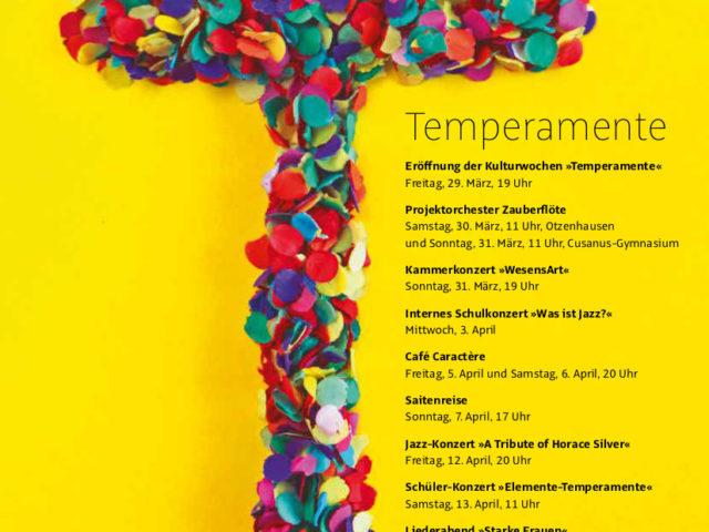 """16. Kulturwochen der Musikschule St. Wendel – """"Temperamente"""""""